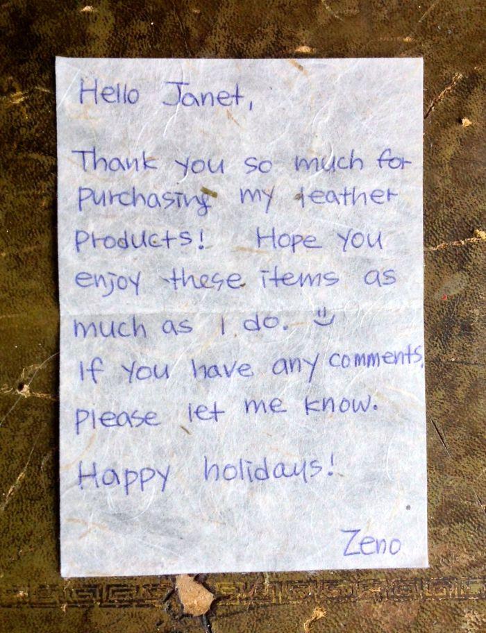Lovely handwritten note