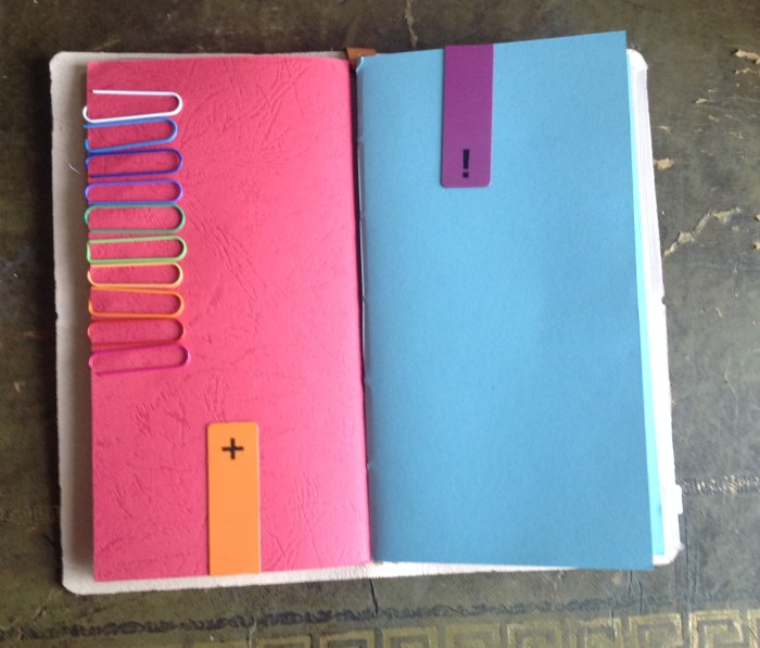 I keep paperclips and magnetic bookmarks on the cover of one of my notebooks. Zendoris do not come with bookmarks and neither do the notebooks so these are invaluable at keeping my place