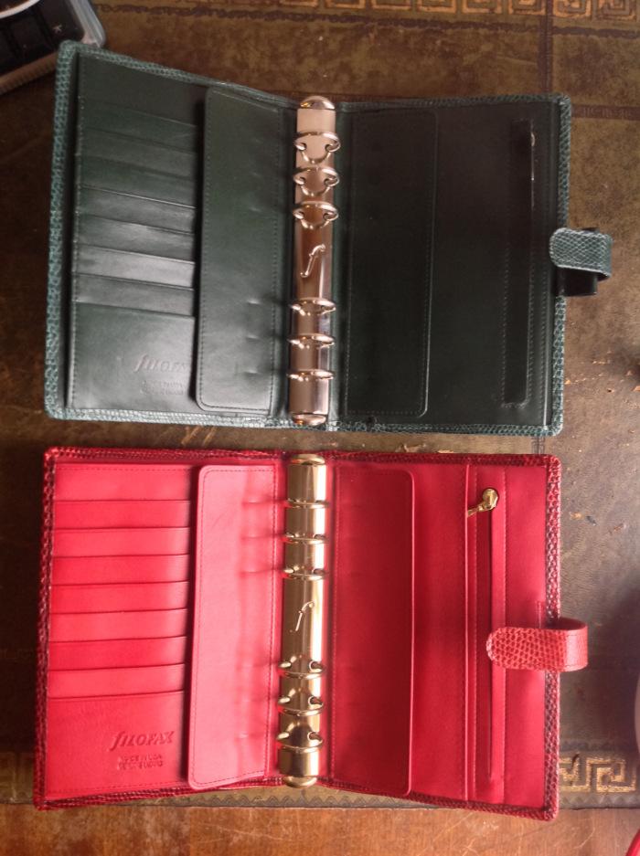 Red lizard Filofax (bottom)