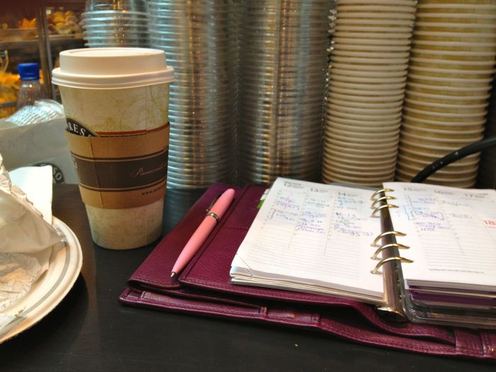 Lunch - toasted chicken bagel and large latte extra hot extra shot. I took the time to make shopping lists and a to do list for the weekend.