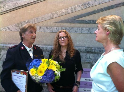 The winner of the 2014 Nelson Mandela prize, Ann-Christine Holten, with me and with the Deputy Mayor of Stockholm, Ulla Hamilton