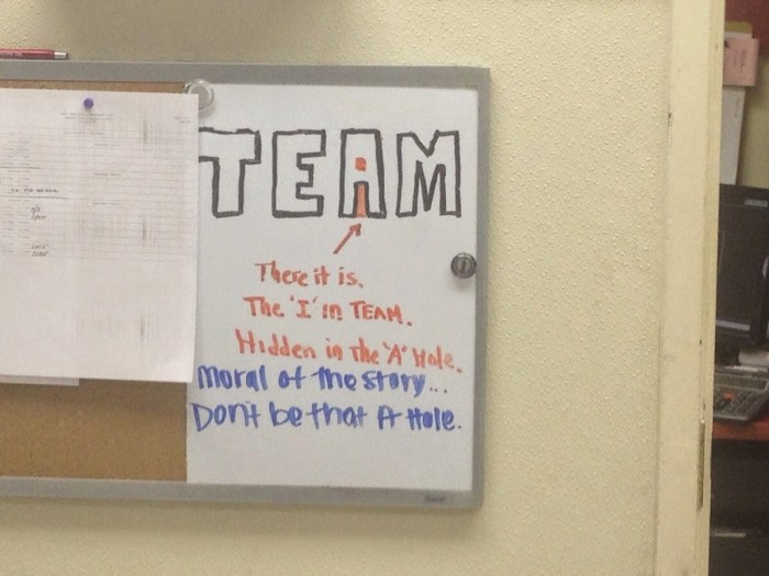 the i in team is hidden in the a hole dr heckle funny wtf signs