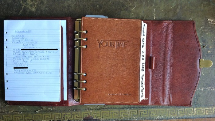 On the left I have a Filofax pad which slips into the secretarial pocket. On the right I have a divider with a pocket made for me by Paula Gibbens. This holds receipts, bits of paper and notes until I have time to deal with them.