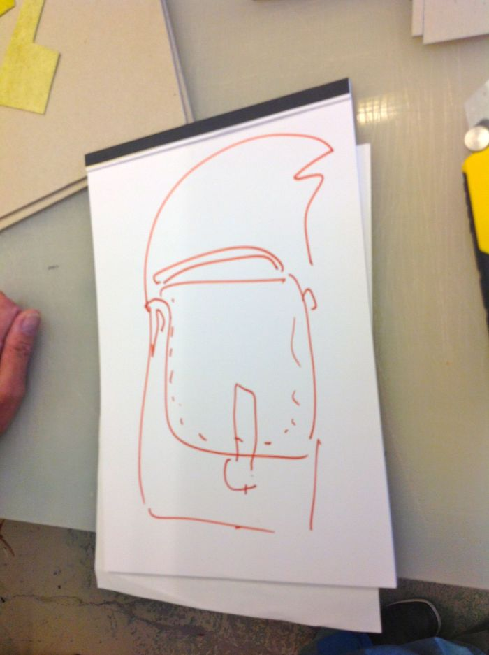 JP drew me a sketch of one of his bags
