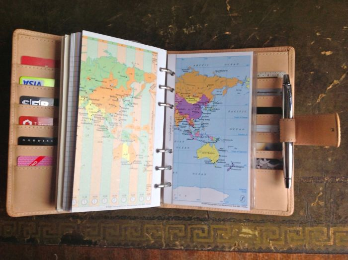 Two fold-out world maps. I use these when briefing students for trips abroad.