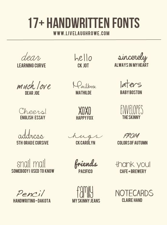 Snatch up these free handwritten fonts from livelaughrowe.com