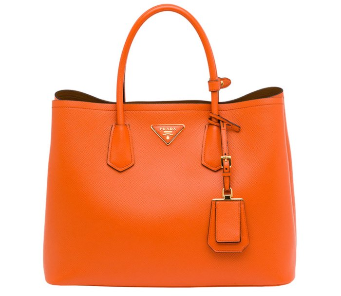 Prada-Saffiano-Cuir-Double-Bag-Orange