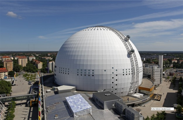 Globe in Stockholm, which is the largest hemispherical building on earth.