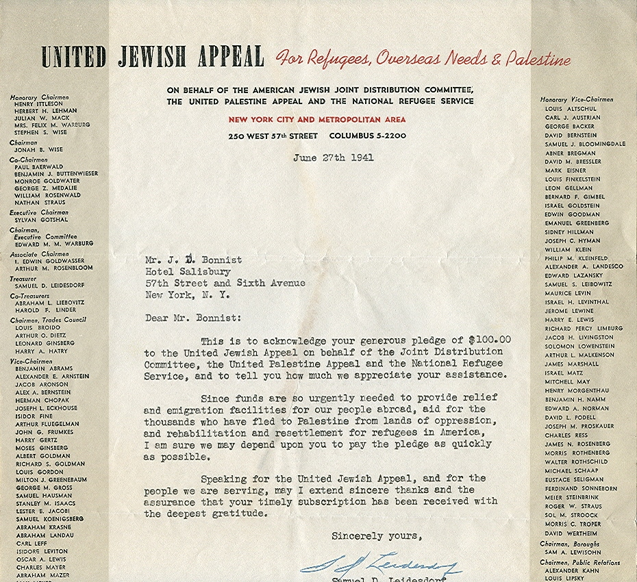 Mr. Jacob Bonnist pledges funds to UJA, 1941 (1/3)