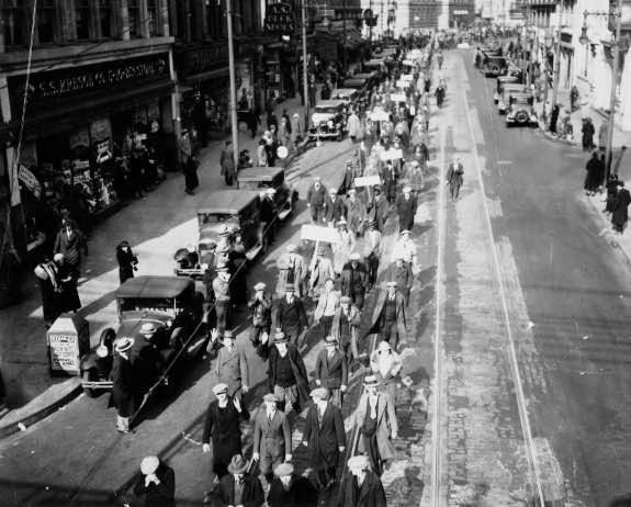 Workers organize and march for jobs in Camden, NJ during the depths of the Great Depression