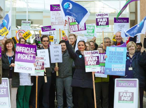Norwich and Norfolk University Hospital workers on strike