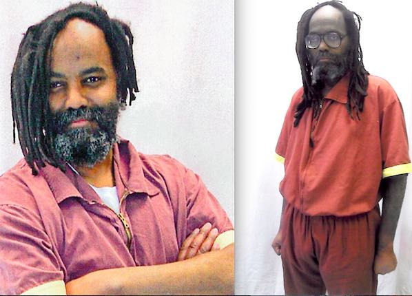 Mumia Abu-Jamal as he looked before and after his untreated Hep-C caused diabetic crisis, during which he lost over 50 lbs.