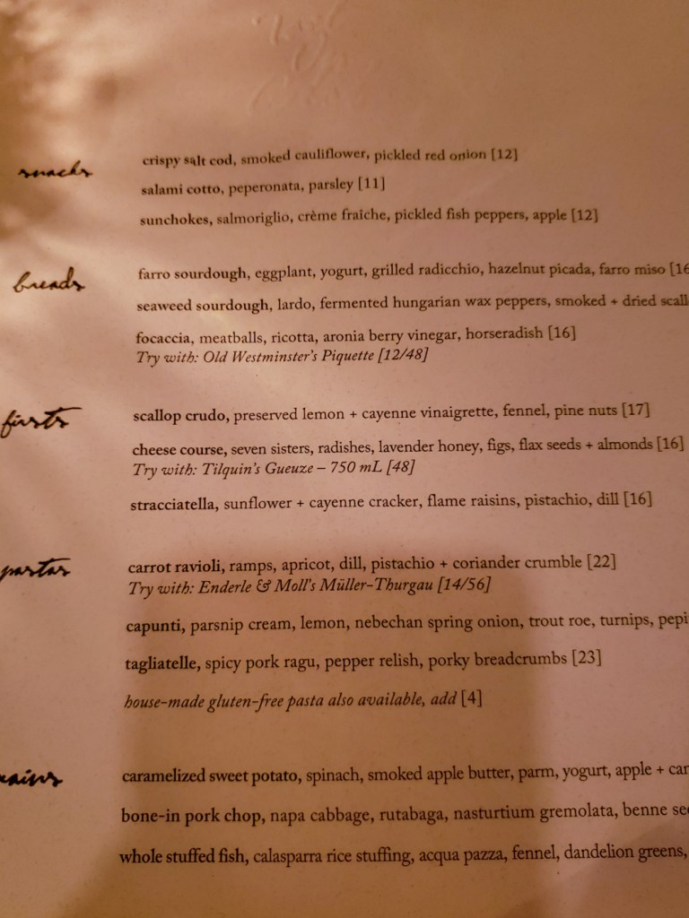 Dinner Menu from Tail Up Goat