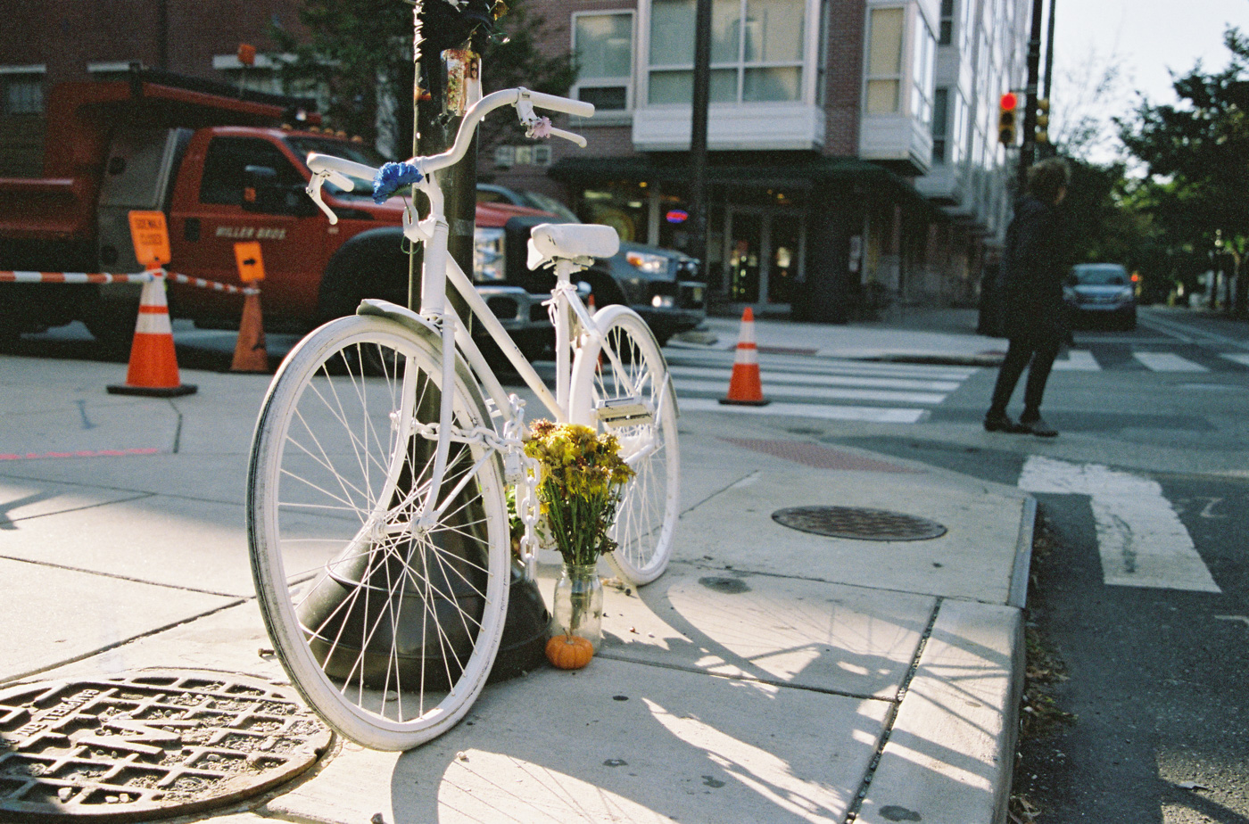 Ghost Bike in Memory of Emily Fredricks at 11th and Spruce