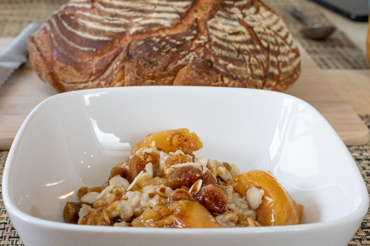 Oatmeal with Home-Canned Peaches, Dried Figs, Raisins, Almonds