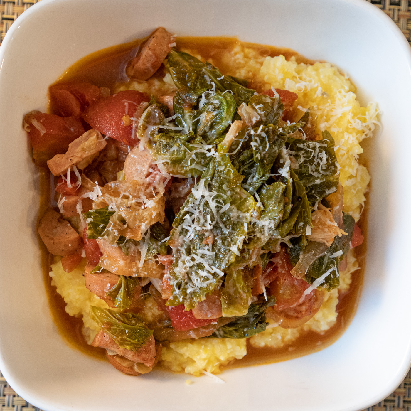 Braised Collards with Chicken Sausage and Polenta
