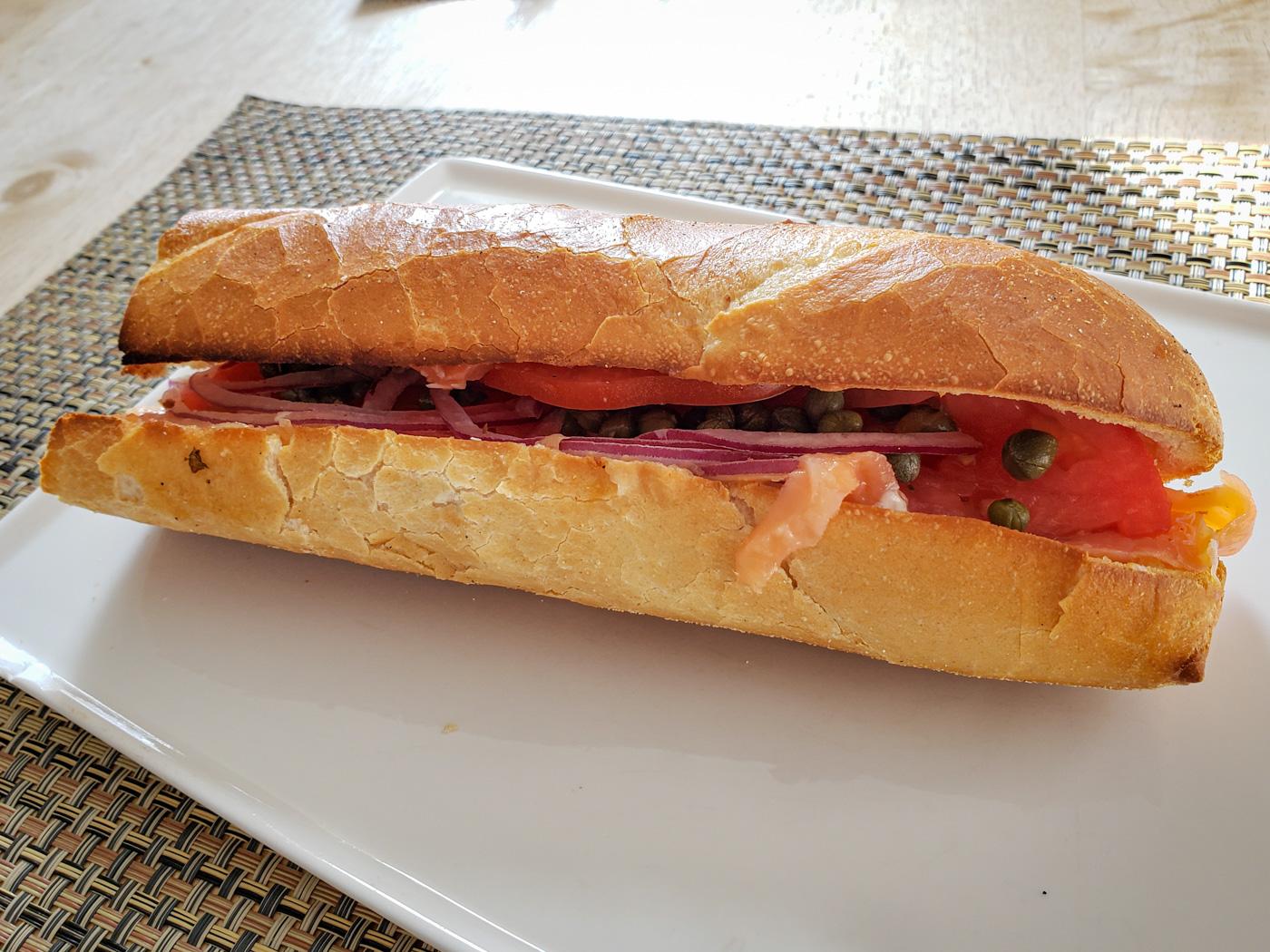 Lox, Tomato, Red Onion, and Caper Sandwich from Cafe Lutecia