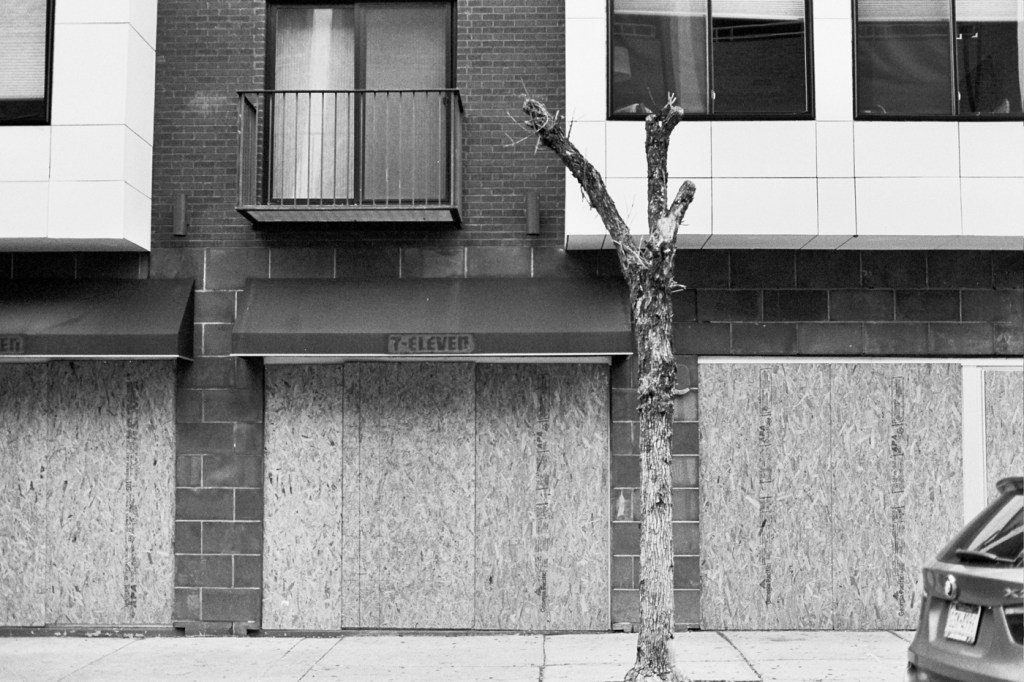Abandoned 7-Eleven with Dead Tree for Emphasis