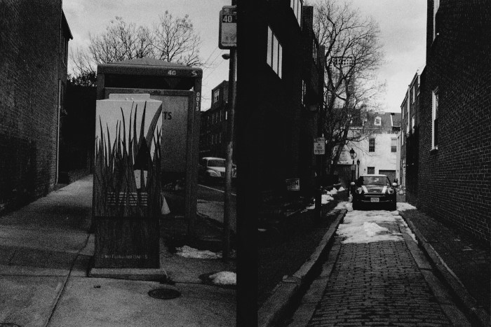 Decorated Utility Box and Car in Alley