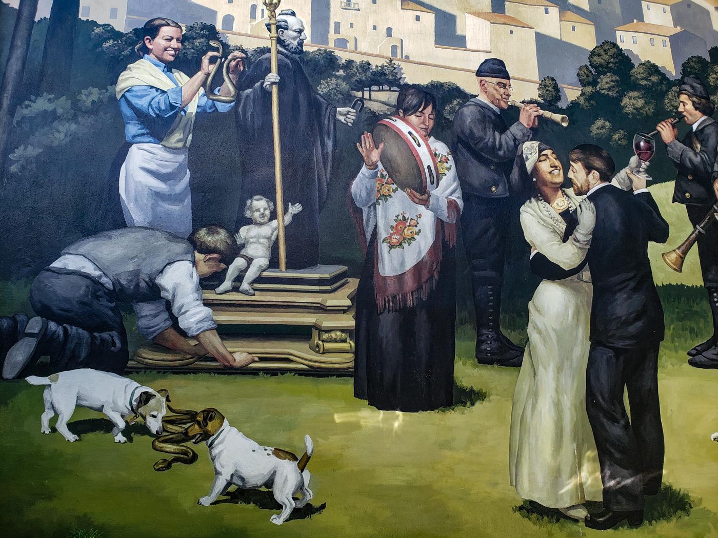 Mural honoring Abruzzo at Le Virtù by Brian Senft