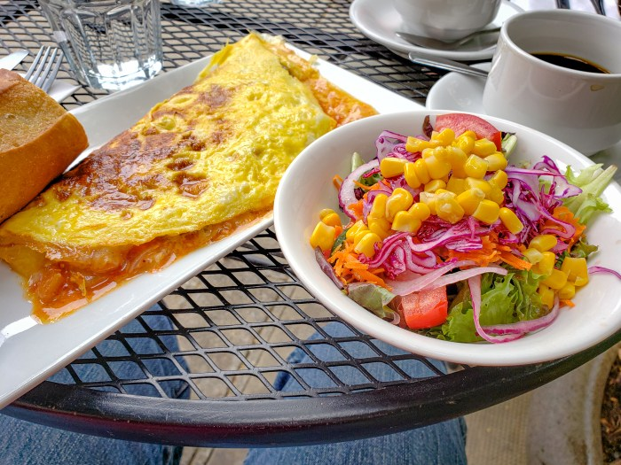 Omelet Basquaise with Side Salad at Cafe Lutecia