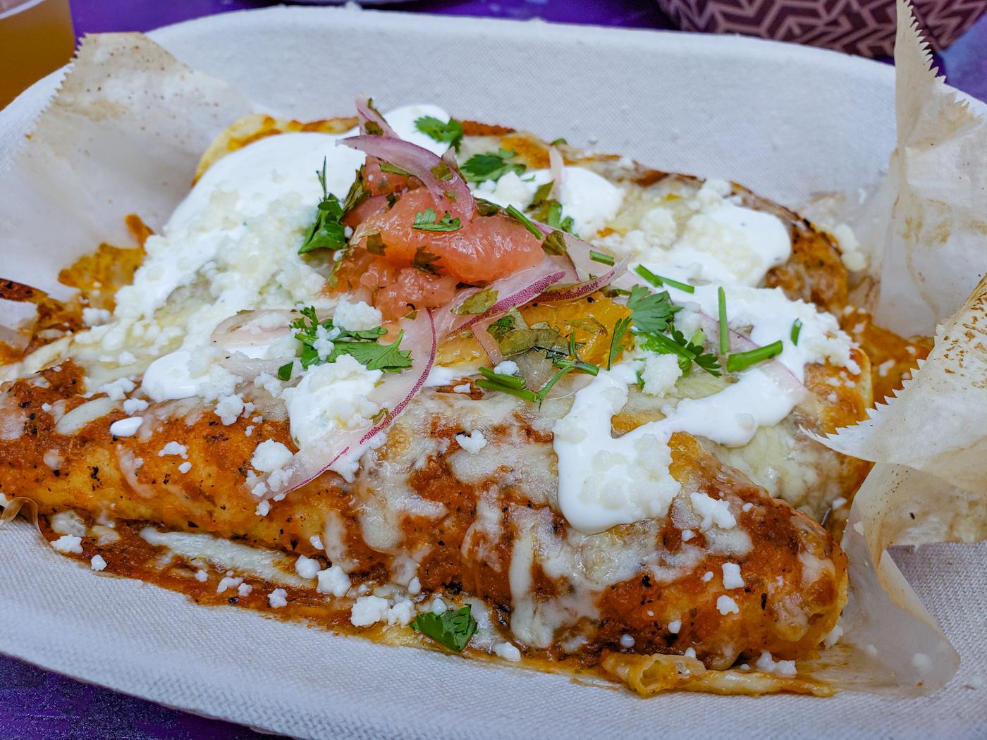 Pollo Pilbil Enchiladas at Tio Flores