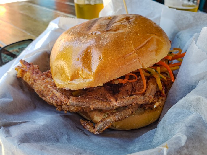 Soft Shell Crab Sandwich at Second District Brewing