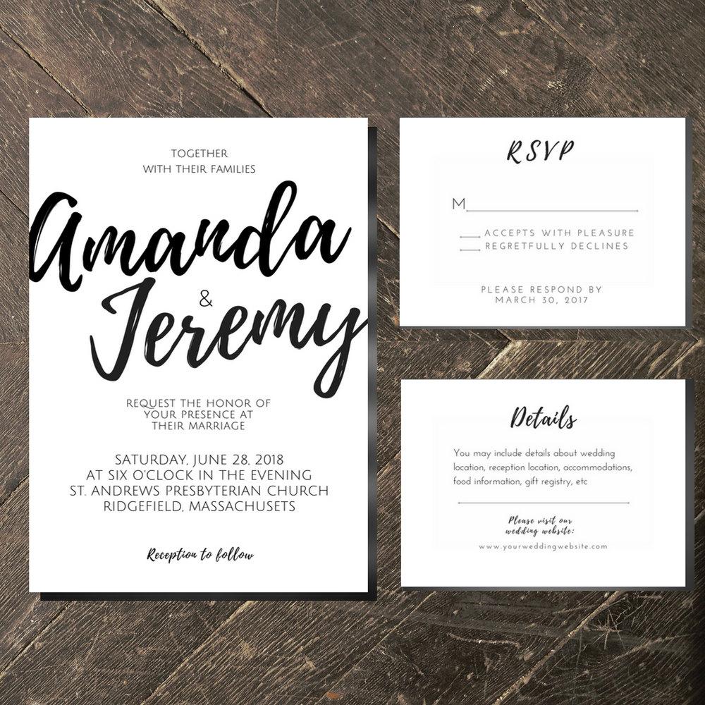 Sophia Invitation Suite Package // Simple, Script, Hand drawn, Black ...