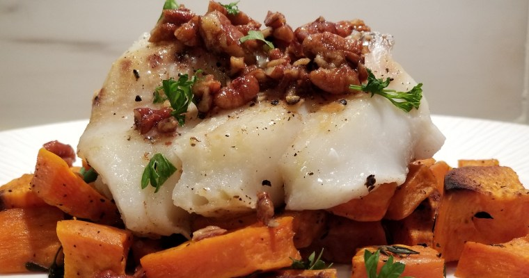 Cod Fish w/pecans and brown butter sauce