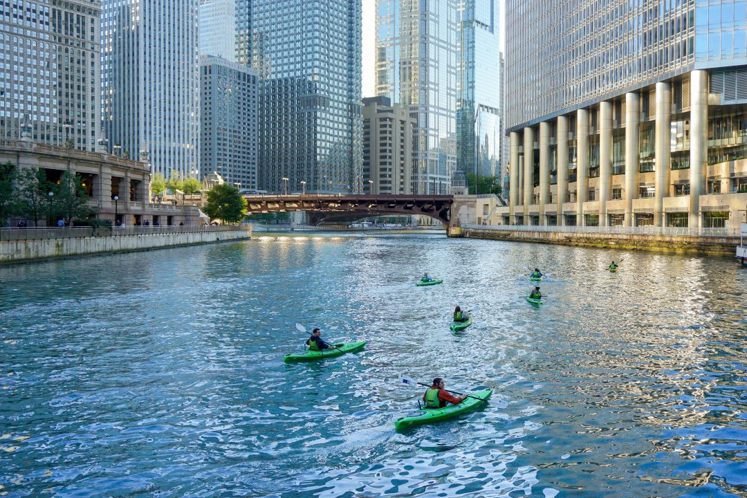 Kayakers in chicago river