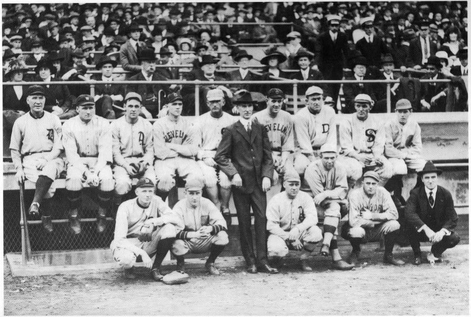 The Red Sox play a benefit game against an American League all-star team and Babe Ruth and Rube Foster combine for a 2 – 0 shutout. The AL squad features Ty Cobb, Tris Speaker, and Joe Jackson in the outfield. More than $14,000 is raised for the family of sports writer Tim Murnane, who died February 13th. Murnane had played and managed in Boston in the 19th century. Actress Fanny Brice helps sell programs and former heavyweight champ John L. Sullivan coaches 3B for the Sox. Ruth wins the fungo hitting contest with a drive of 402 feet, while Joe Jackson has the longest throw at an impressive 396 feet.