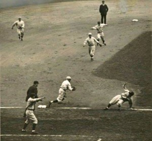 Joe Sewell of Cleveland gets caught in a rundown in a World Series game on Oct 5, 1920, at Ebbets Field.