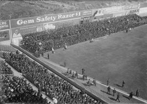 """Ebbets Field, Brooklyn, Oct 5, 1920 - Rooters take to their seats before Game One of 1920 World Series. Even so bleachers in outfield had been there all season, they were called """"emergency grandstand"""" so to allow the club to charge more. Press referred to them as """"circus seats"""""""