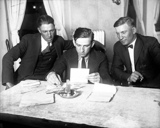 Expelled players Happy Felsch and Swede Risberg file suit against the White Sox for back salary and $400,000 in damages. Both players, acquitted for allegedly fixing the 1919 World Series, were still banned from baseball by Commissioner Kenesaw Mountain Landis, even though they were found not guilty of the wrongdoing in a much-publicized court case.