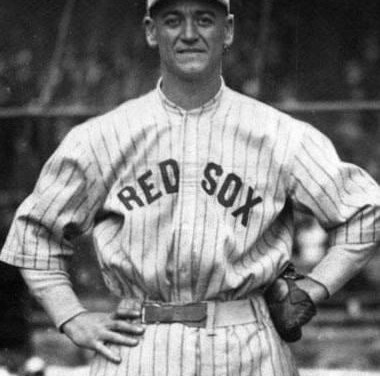 Red Sox first baseman George Burns completes anunassisted triple playagainst the Indians as he gathers in Frank Brower's line drive, tags Rube Lutzke coming from first, and beats Riggs Stephenson back to second.