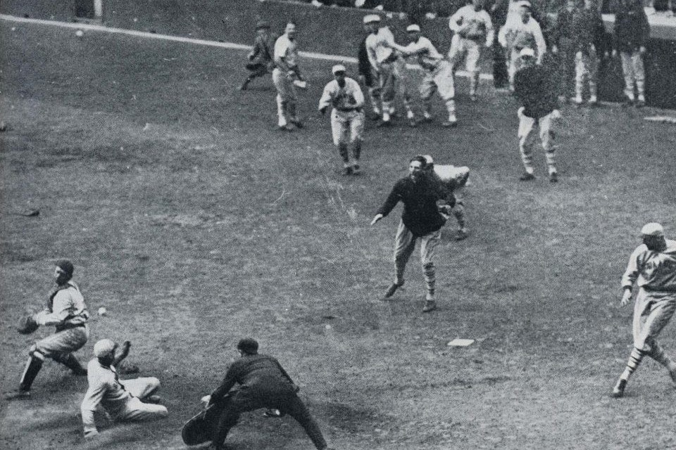 Casey Stengel delivers the first homerun in World Series History @ Yankee Stadium to seal a Giant win