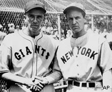 Carl Hubbell of the New York Giants pitches 18 innings of shutout ball in the first game of a doubleheader