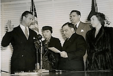 With Mayor Fiorello La Guardia on hand, Lou Gehrig is sworn in as a member of the New York City Parole Commission. Although the term is for ten years, the former Yankee slugger will eventually become too ill even to sign his name and will ask for a leave of absence next year.