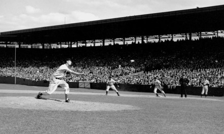 Red Sox outfielder Ted Williams, in Detroit's 12-1 blowout of the team, pitches the last two innings of the first game of a doubleheader at Fenway Park. The 'Splendid Splinter', who strikes out Rudy York on three pitches, allows only one run on three hits.