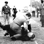 "A rhubarb at Ebbets Field results in a suspension and fine for Leo Durocher for ""inciting a riot."" Perhaps better known from the game is the photo showing an obese Brooklyn fan astride George Magerkurth, pummeling the veteran umpire."
