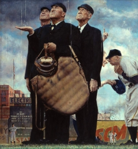 Frankie Frisch is ejected by umpire Jocko Conlan from the second game of a doubleheader when he appears on the field with an umbrella to protest the playing conditions at Brooklyn's Ebbets Field.