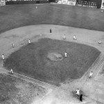 AtEbbets Field, theDodgerssweep two from their cross-town rivals. In the first game, theGiantstake a 4 - 2 lead in the 10th onJohnny Mize's 2-run home run, only to seeDolph Camillihit relieverHarry Feldman's first pitch for agrand slamand give Dem Bums a 6 - 4 win. In the second game, the Dodgers score two in the 5th to take a 7 - 5 lead in a game halted by darkness. The Dodgers now leadSt. Louisby 7 1/2 games.