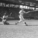 Pete Gray, a one-armed outfielder, plays his major league debut game with the St. Louis Browns at Sportsman's Park. Gray hits a single off Les Mueller in four at-bats, and handles no chances in the outfield. St. Louis beats the Detroit Tigers, 7 - 1, for their ninth straight Opening Day win, setting a major league record that the 1975-1983 New York Mets will tie. Gray, one of many players recruited to perform during World War II, will hit .218 (51 for 254) in his only major league season.