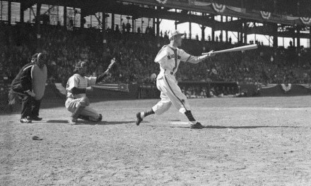 Pete Gray, a one-armedoutfielder, plays his major league debut game with theSt. Louis BrownsatSportsman's Park. Gray hits a single offLes Muellerin four at-bats, and handles no chances in the outfield. St. Louis beats theDetroit Tigers, 7 – 1, for their ninth straightOpening Daywin, setting a major league record that the1975-1983New York Metswill tie. Gray, one of many players recruited to perform duringWorld War II, will hit .218 (51 for 254) in his only major league season.