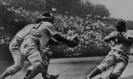 At Forbes Field, Jackie Robinson steals home in the Dodgers' 4-2 victory over the Pirates. It is the Brooklyn infielder's first thievery of the dish, something the rookie will accomplish 19 times during his ten-year career.
