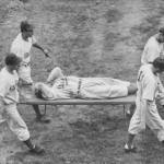 In the 5th inning at Ebbets Field' Dodgers OF Pete Reiser crashes into the fence and is knocked unconscious. He still manages to hold onto the long fly by Culley Rikard to help the Dodgers win over Pittsburgh, 9 - 4. In the clubhouse, a priest administers the last rites of the Catholic Church to Reiser' who will be hospitalized for 10 days.