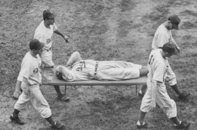 In the 5th inning at Ebbets Field' Dodgers OF Pete Reiser crashes into the fence and is knocked unconscious. He still manages to hold onto the long fly by Culley Rikard to help the Dodgers win over Pittsburgh, 9 – 4. In the clubhouse, a priest administers the last rites of the Catholic Church to Reiser' who will be hospitalized for 10 days.