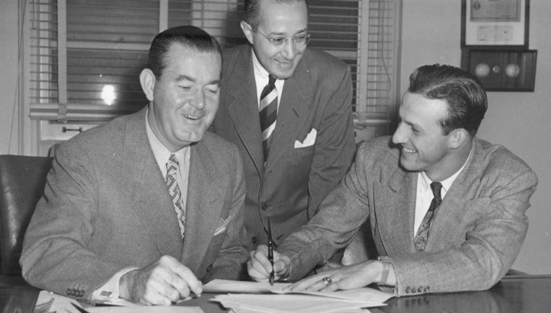 Cardinals outfielder Stan Musial ends his holdout, signing a contract for $31,000, the same salary he made last season. 'Stan the Man,' after being assured by new owners Robert Hannegan and Fred Saigh that his salary will be increased based on his performance, gets a pay raise of $5,000 when he is hitting .403 at the All-Star break, en route to being named the National League's MVP.