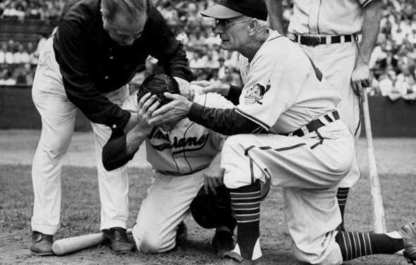 Don Black, while batting in the second inning of the Cleveland Stadium contest against St. Louis, suffers a cerebral hemorrhage