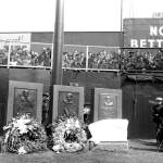 TheNew York Yankeesunveil a granite monument toBabe Ruth.Monument Park, located in the deepcenter fieldregion ofYankee Stadium, also includes monuments forLou GehrigandMiller Huggins.